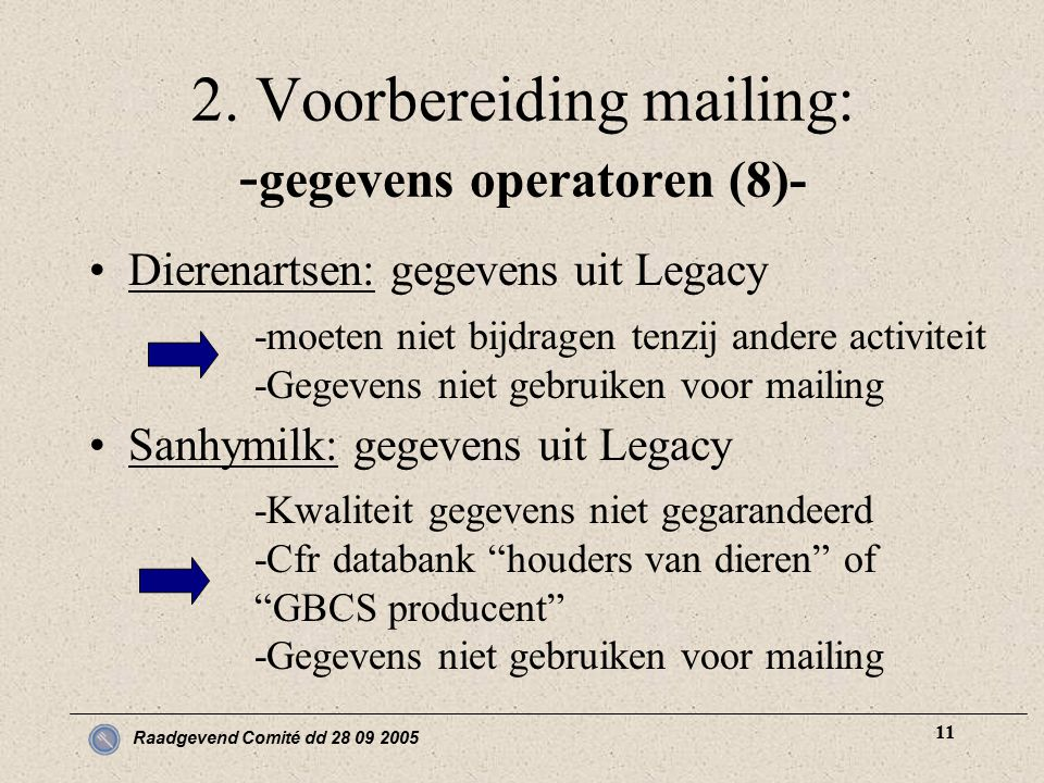 Raadgevend Comité dd 28 09 2005 11 2. Voorbereiding mailing: - gegevens operatoren (8)- Dierenartsen: gegevens uit Legacy Sanhymilk: gegevens uit Lega