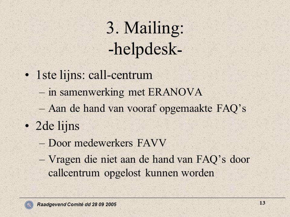 Raadgevend Comité dd 28 09 2005 13 3. Mailing: -helpdesk - 1ste lijns: call-centrum –in samenwerking met ERANOVA –Aan de hand van vooraf opgemaakte FA