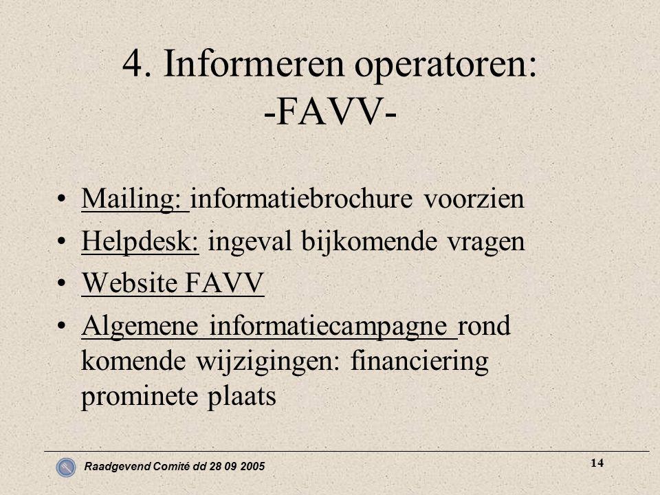 Raadgevend Comité dd 28 09 2005 14 4. Informeren operatoren: -FAVV- Mailing: informatiebrochure voorzien Helpdesk: ingeval bijkomende vragen Website F