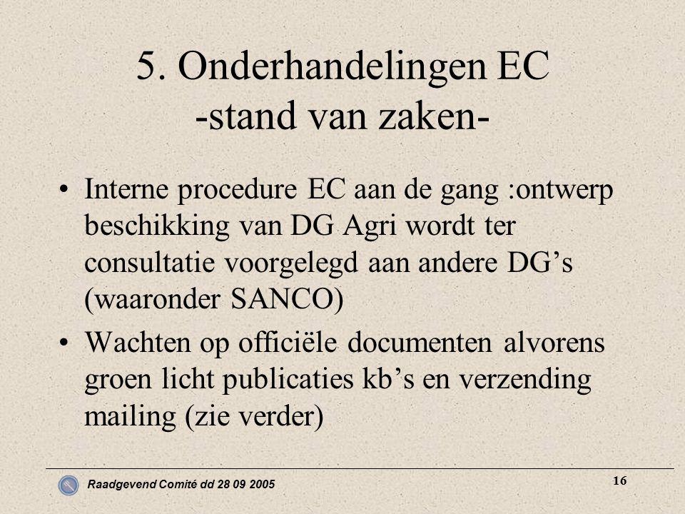 Raadgevend Comité dd 28 09 2005 16 5. Onderhandelingen EC -stand van zaken- Interne procedure EC aan de gang :ontwerp beschikking van DG Agri wordt te