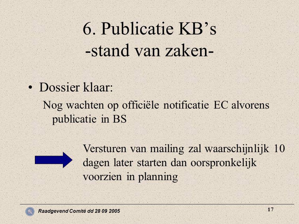Raadgevend Comité dd 28 09 2005 17 6. Publicatie KB's -stand van zaken- Dossier klaar: Nog wachten op officiële notificatie EC alvorens publicatie in