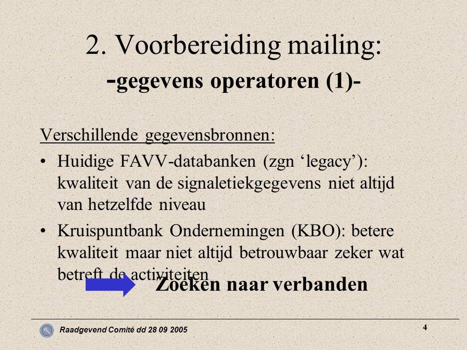 Raadgevend Comité dd 28 09 2005 4 2. Voorbereiding mailing: - gegevens operatoren (1)- Verschillende gegevensbronnen: Huidige FAVV-databanken (zgn 'le