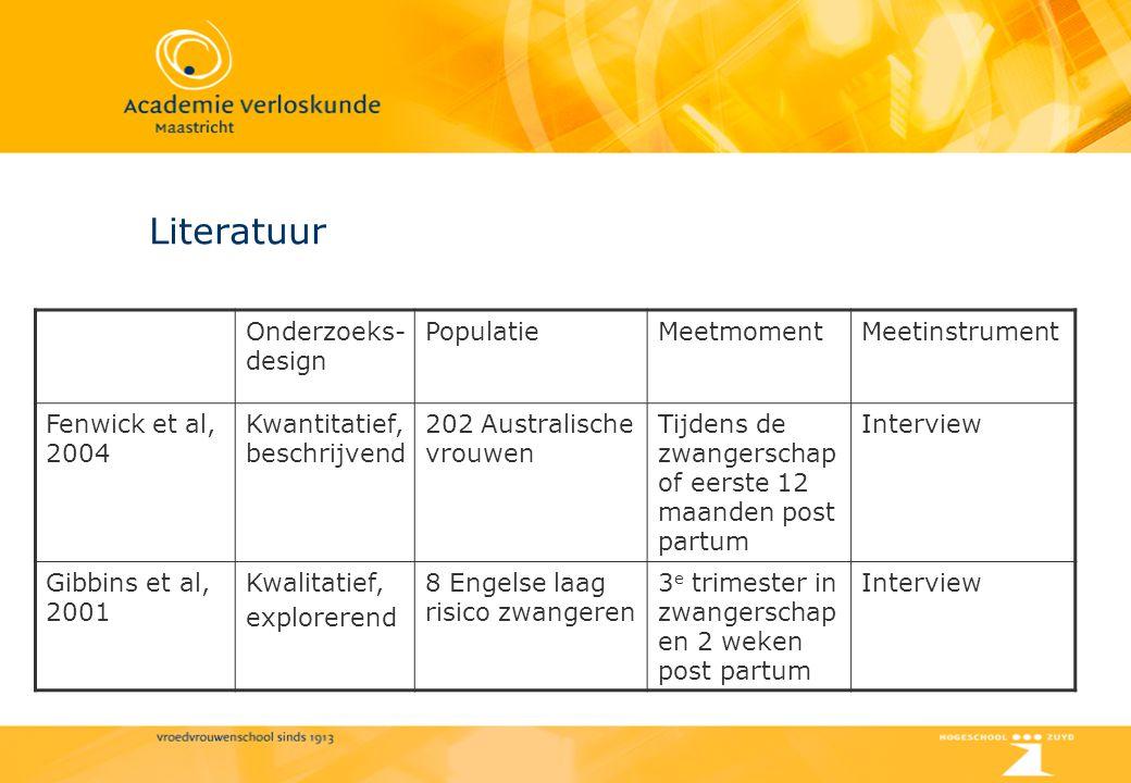 Literatuur Onderzoeks- design PopulatieMeetmomentMeetinstrument Fenwick et al, 2004 Kwantitatief, beschrijvend 202 Australische vrouwen Tijdens de zwa