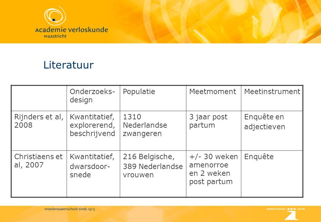 Literatuur Onderzoeks- design PopulatieMeetmomentMeetinstrument Rijnders et al, 2008 Kwantitatief, explorerend, beschrijvend 1310 Nederlandse zwangere