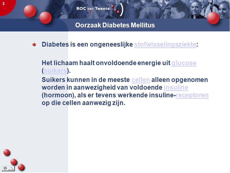 3 Oorzaak Diabetes Mellitus Diabetes is een ongeneeslijke stofwisselingsziekte:stofwisselingsziekte Het lichaam haalt onvoldoende energie uit glucose