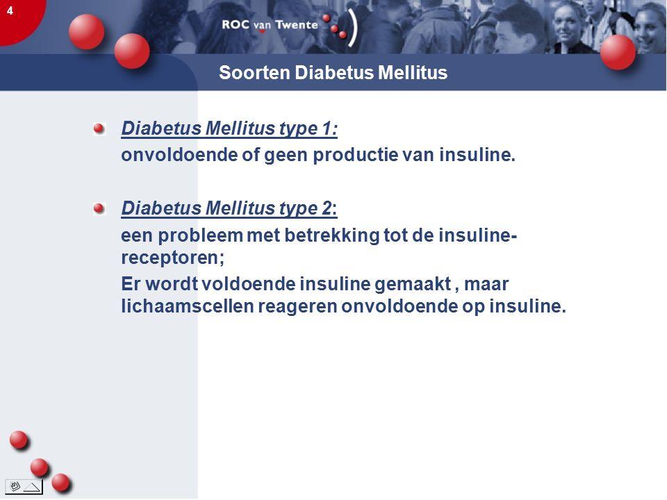 4 Soorten Diabetus Mellitus Diabetus Mellitus type 1: onvoldoende of geen productie van insuline. Diabetus Mellitus type 2: een probleem met betrekkin