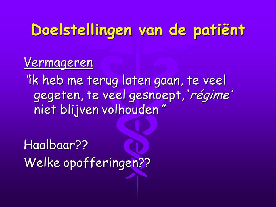 Doelstellingen van de patiënt Vermageren ik heb me terug laten gaan, te veel gegeten, te veel gesnoept, 'régime' niet blijven volhouden Haalbaar?.