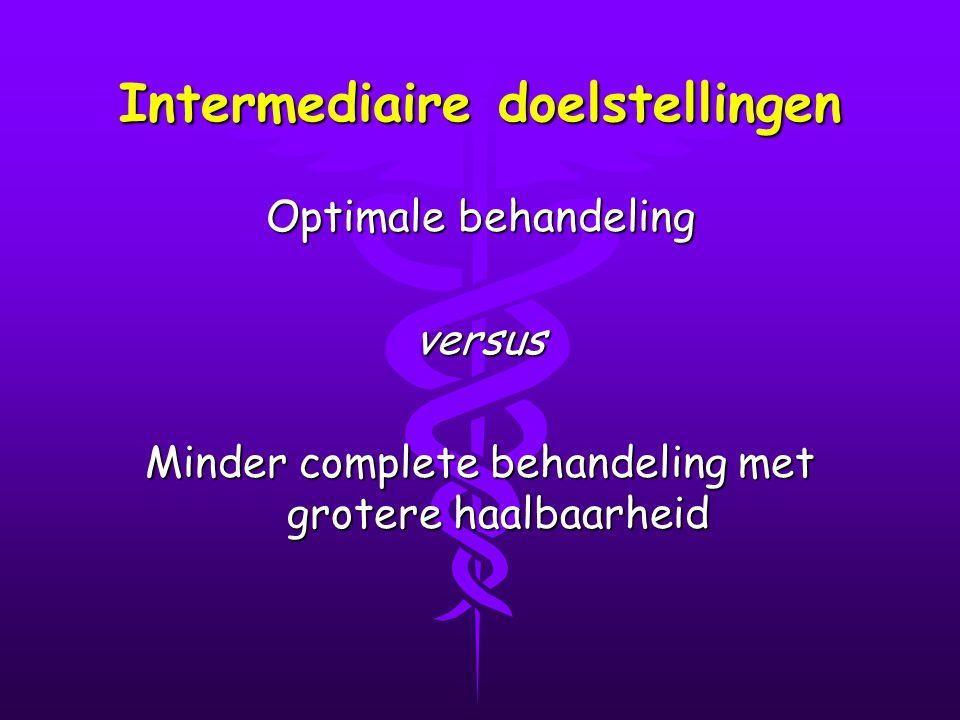 Intermediaire doelstellingen Optimale behandeling versus Minder complete behandeling met grotere haalbaarheid