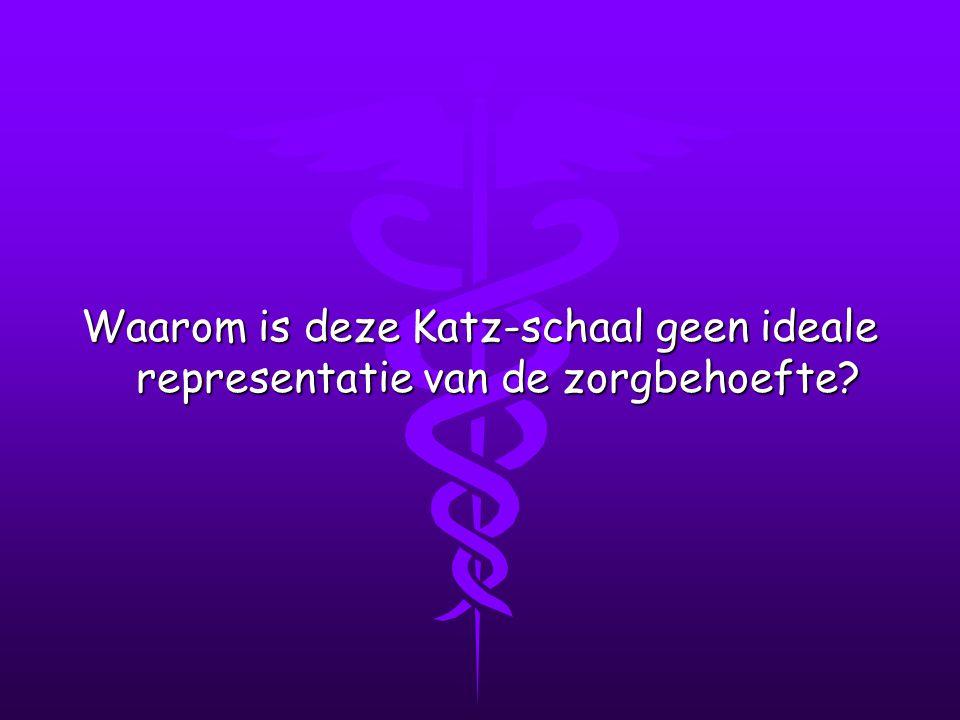 Waarom is deze Katz-schaal geen ideale representatie van de zorgbehoefte?