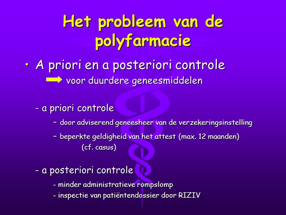Het probleem van de polyfarmacie A priori en a posteriori controleA priori en a posteriori controle voor duurdere geneesmiddelen voor duurdere geneesmiddelen - a priori controle - door adviserend geneesheer van de verzekeringsinstelling - beperkte geldigheid van het attest (max.