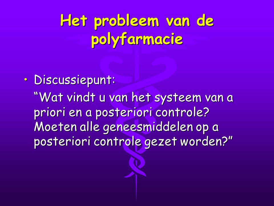 Het probleem van de polyfarmacie Discussiepunt:Discussiepunt: Wat vindt u van het systeem van a priori en a posteriori controle.