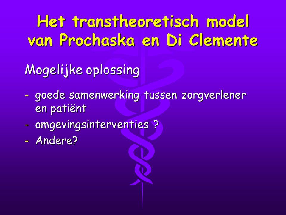 Het transtheoretisch model van Prochaska en Di Clemente Mogelijke oplossing -goede samenwerking tussen zorgverlener en patiënt -omgevingsinterventies .