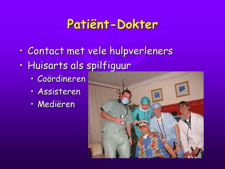 Patiënt-Dokter Contact met vele hulpverlenersContact met vele hulpverleners Huisarts als spilfiguurHuisarts als spilfiguur CoördinerenCoördineren AssisterenAssisteren MediërenMediëren