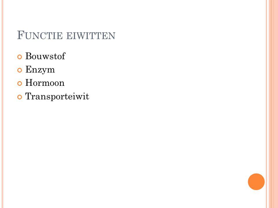 F UNCTIE EIWITTEN Bouwstof Enzym Hormoon Transporteiwit