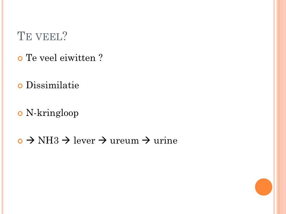 T E VEEL ? Te veel eiwitten ? Dissimilatie N-kringloop  NH3  lever  ureum  urine