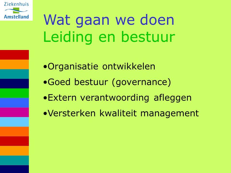 Wat gaan we doen Leiding en bestuur Organisatie ontwikkelen Goed bestuur (governance) Extern verantwoording afleggen Versterken kwaliteit management