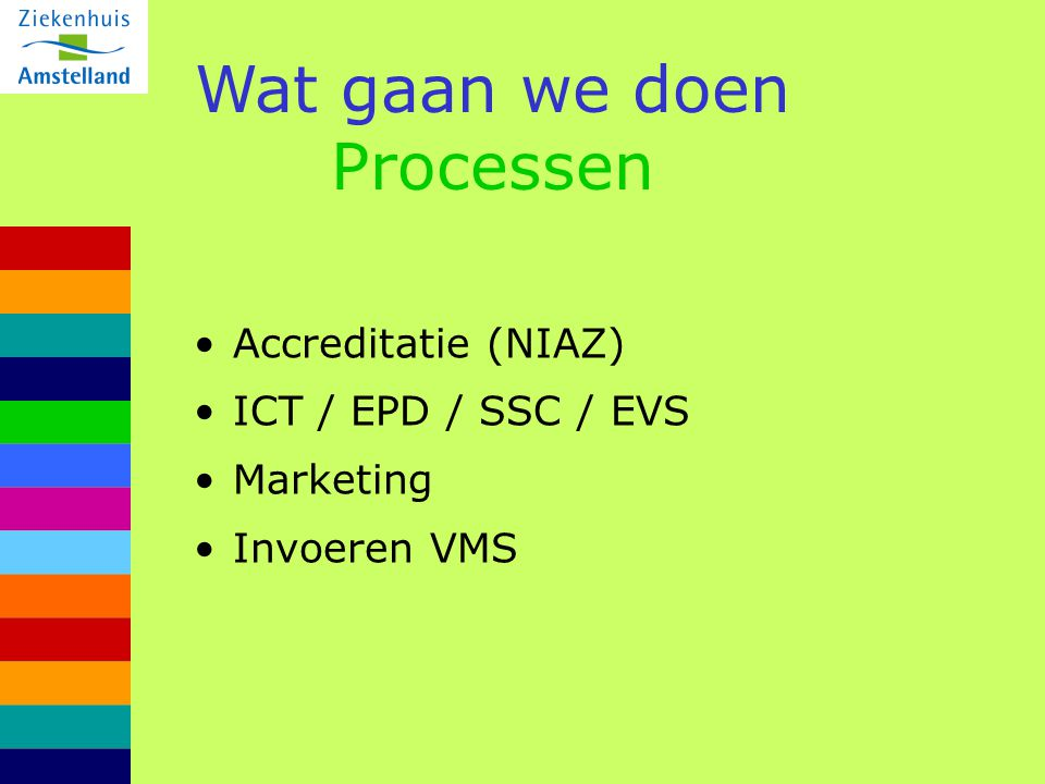 Wat gaan we doen Processen Accreditatie (NIAZ) ICT / EPD / SSC / EVS Marketing Invoeren VMS