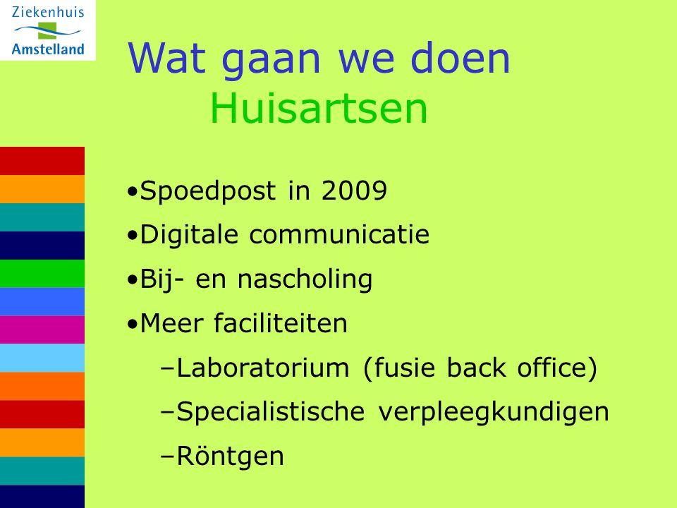 Wat gaan we doen Huisartsen Spoedpost in 2009 Digitale communicatie Bij- en nascholing Meer faciliteiten –Laboratorium (fusie back office) –Specialist