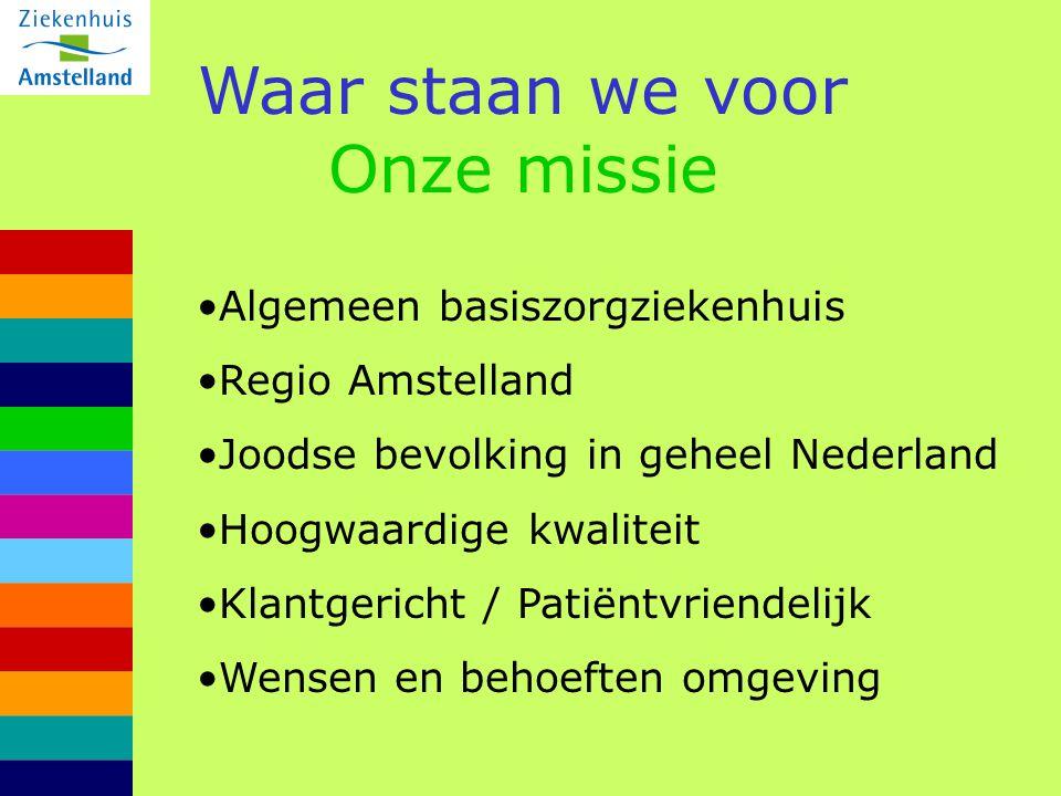 Waar staan we voor Onze missie Algemeen basiszorgziekenhuis Regio Amstelland Joodse bevolking in geheel Nederland Hoogwaardige kwaliteit Klantgericht