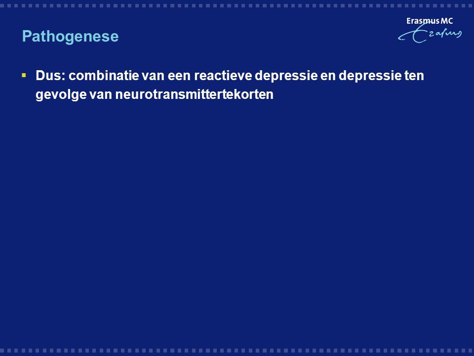 Pathogenese  Dus: combinatie van een reactieve depressie en depressie ten gevolge van neurotransmittertekorten