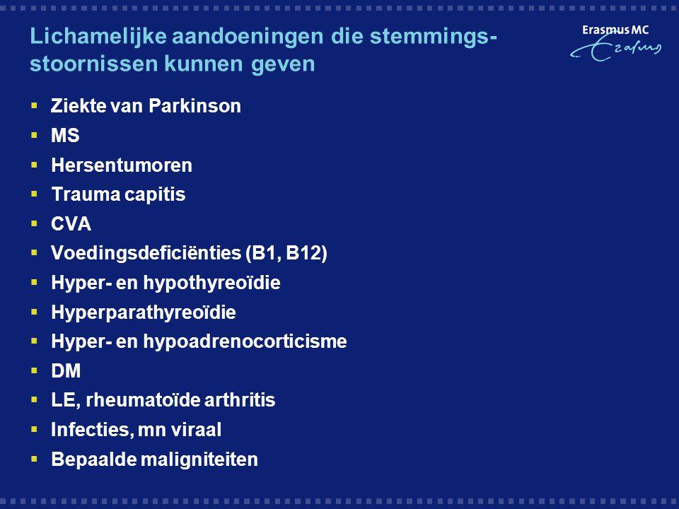 Lichamelijke aandoeningen die stemmings- stoornissen kunnen geven  Ziekte van Parkinson  MS  Hersentumoren  Trauma capitis  CVA  Voedingsdeficië