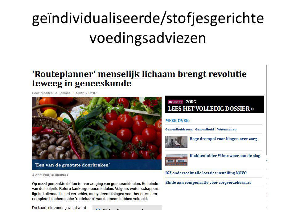 geïndividualiseerde/stofjesgerichte voedingsadviezen