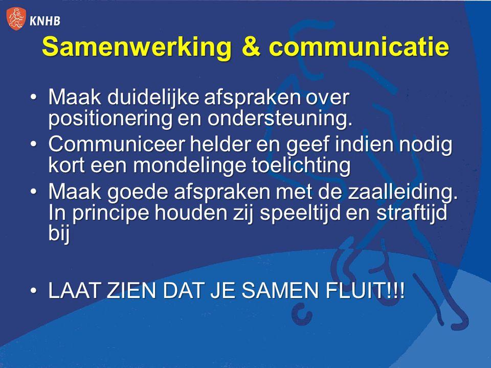 Samenwerking & communicatie Maak duidelijke afspraken over positionering en ondersteuning.Maak duidelijke afspraken over positionering en ondersteuning.