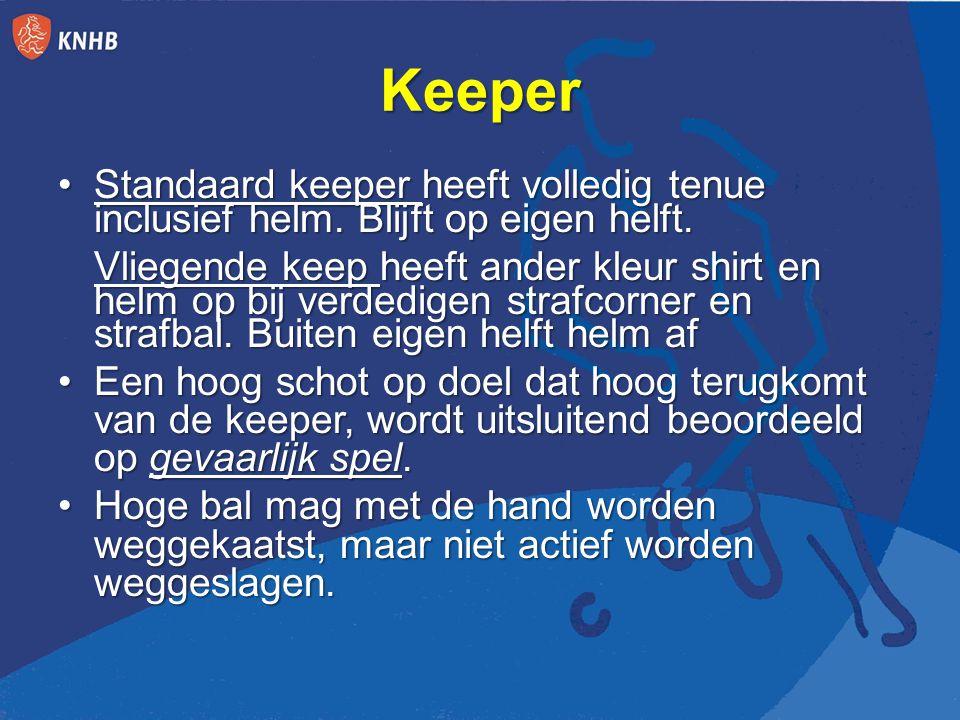 Keeper Standaard keeper heeft volledig tenue inclusief helm.