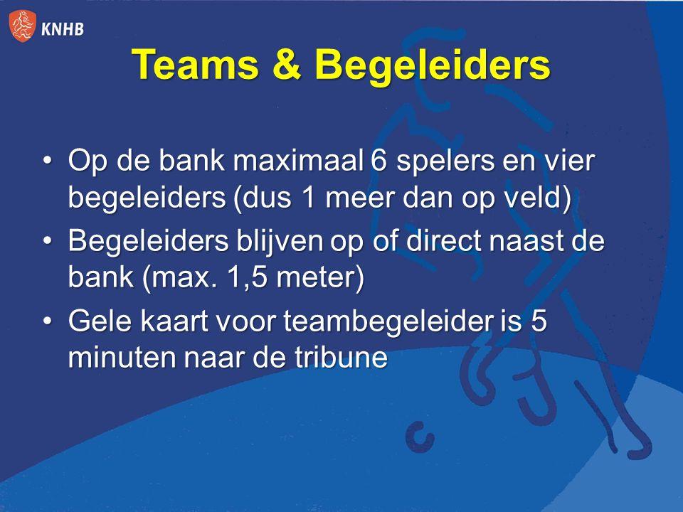 Teams & Begeleiders Op de bank maximaal 6 spelers en vier begeleiders (dus 1 meer dan op veld)Op de bank maximaal 6 spelers en vier begeleiders (dus 1 meer dan op veld) Begeleiders blijven op of direct naast de bank (max.