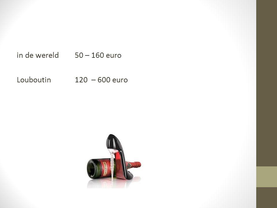 in de wereld 50 – 160 euro Louboutin 120 – 600 euro