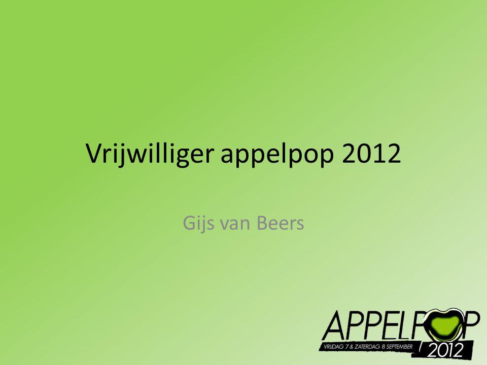 Vrijwilliger appelpop 2012 Gijs van Beers