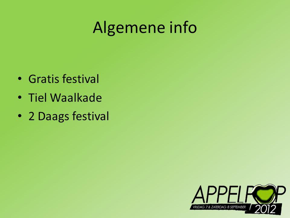 Algemene info Gratis festival Tiel Waalkade 2 Daags festival