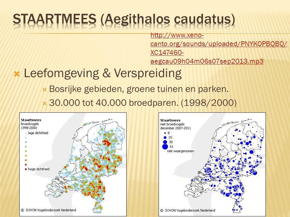  Leefomgeving & Verspreiding  Bosrijke gebieden, groene tuinen en parken.  30.000 tot 40.000 broedparen. (1998/2000) http://www.xeno- canto.org/sou