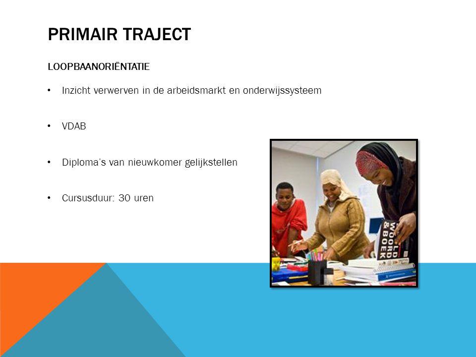 PRIMAIR TRAJECT LOOPBAANORIËNTATIE Inzicht verwerven in de arbeidsmarkt en onderwijssysteem VDAB Diploma's van nieuwkomer gelijkstellen Cursusduur: 30 uren