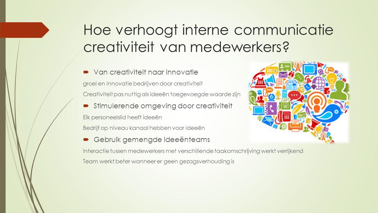 Hoe verhoogt interne communicatie creativiteit van medewerkers?  Van creativiteit naar innovatie groei en innovatie bedrijven door creativiteit Creat