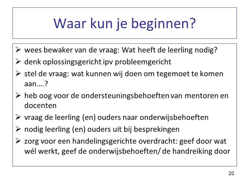 Waar kun je beginnen?  wees bewaker van de vraag: Wat heeft de leerling nodig?  denk oplossingsgericht ipv probleemgericht  stel de vraag: wat kunn
