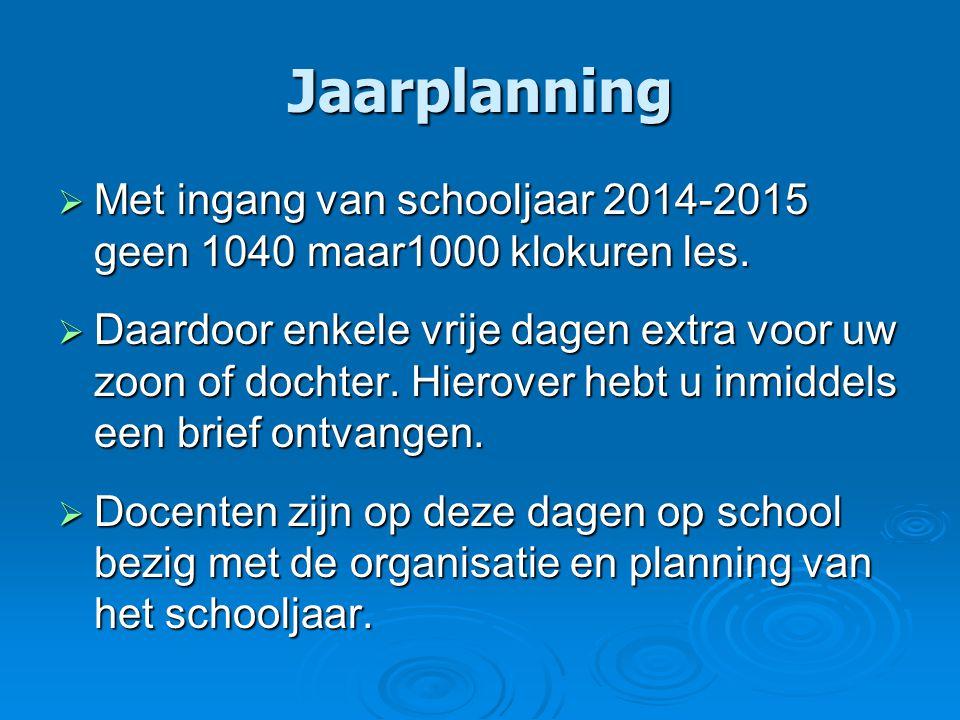 Jaarplanning  Met ingang van schooljaar 2014-2015 geen 1040 maar1000 klokuren les.