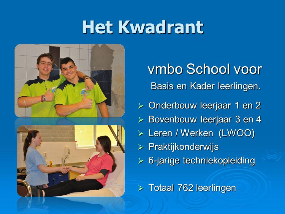 Het Kwadrant vmbo School voor vmbo School voor Basis en Kader leerlingen.