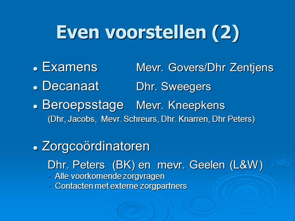 Even voorstellen (2) Examens Mevr. Govers/Dhr Zentjens Examens Mevr.