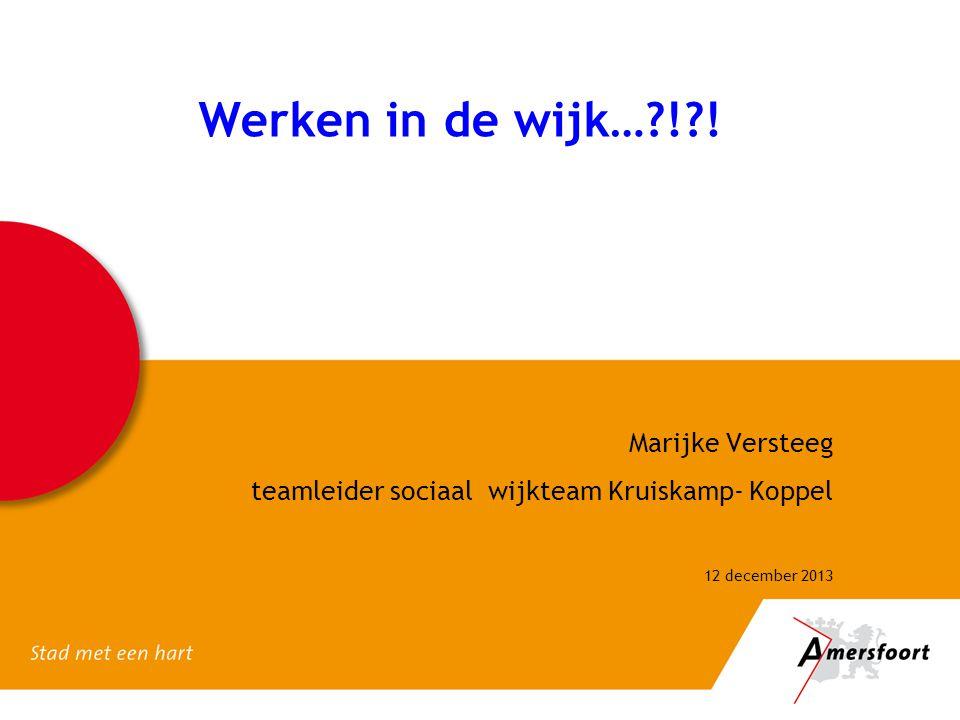 Werken in de wijk…?!?! Marijke Versteeg teamleider sociaal wijkteam Kruiskamp- Koppel 12 december 2013
