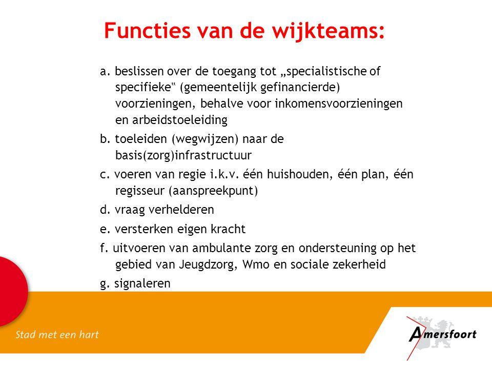 """Functies van de wijkteams: a. beslissen over de toegang tot """"specialistische of specifieke """" (gemeentelijk gefinancierde) voorzieningen, behalve voor"""