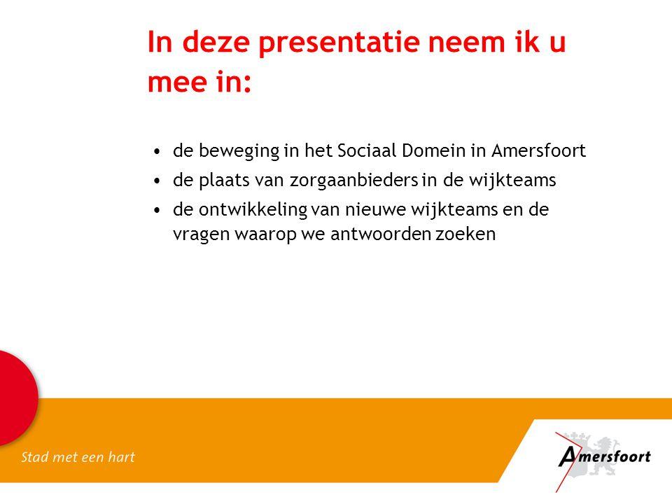 In deze presentatie neem ik u mee in: de beweging in het Sociaal Domein in Amersfoort de plaats van zorgaanbieders in de wijkteams de ontwikkeling van