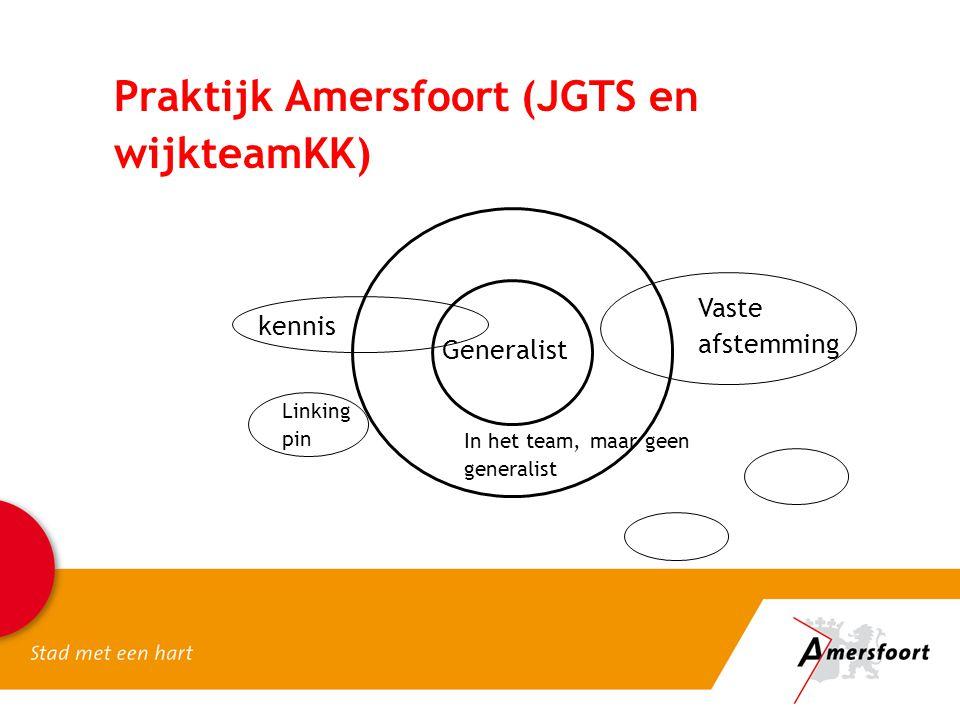 Praktijk Amersfoort (JGTS en wijkteamKK) Generalist In het team, maar geen generalist Vaste afstemming Linking pin kennis
