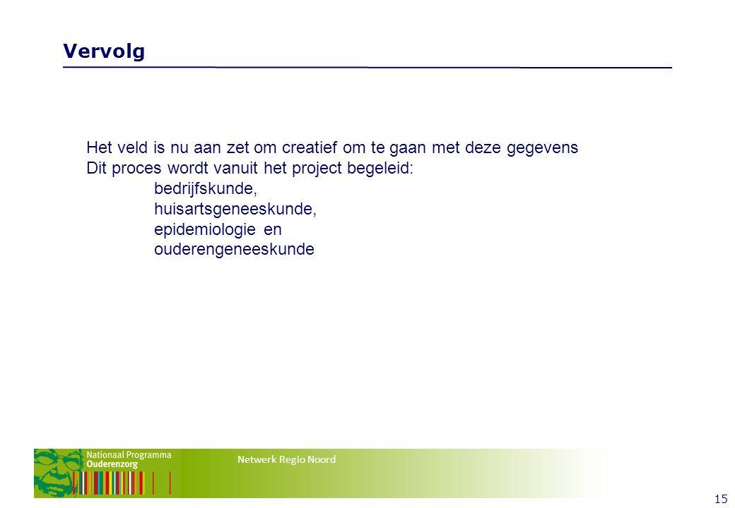 Netwerk Regio Noord Vervolg 15 Het veld is nu aan zet om creatief om te gaan met deze gegevens Dit proces wordt vanuit het project begeleid: bedrijfskunde, huisartsgeneeskunde, epidemiologie en ouderengeneeskunde