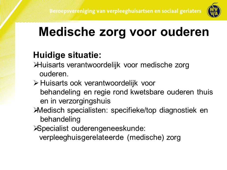 Medische zorg voor ouderen Huidige situatie:  Huisarts verantwoordelijk voor medische zorg ouderen.  Huisarts ook verantwoordelijk voor behandeling
