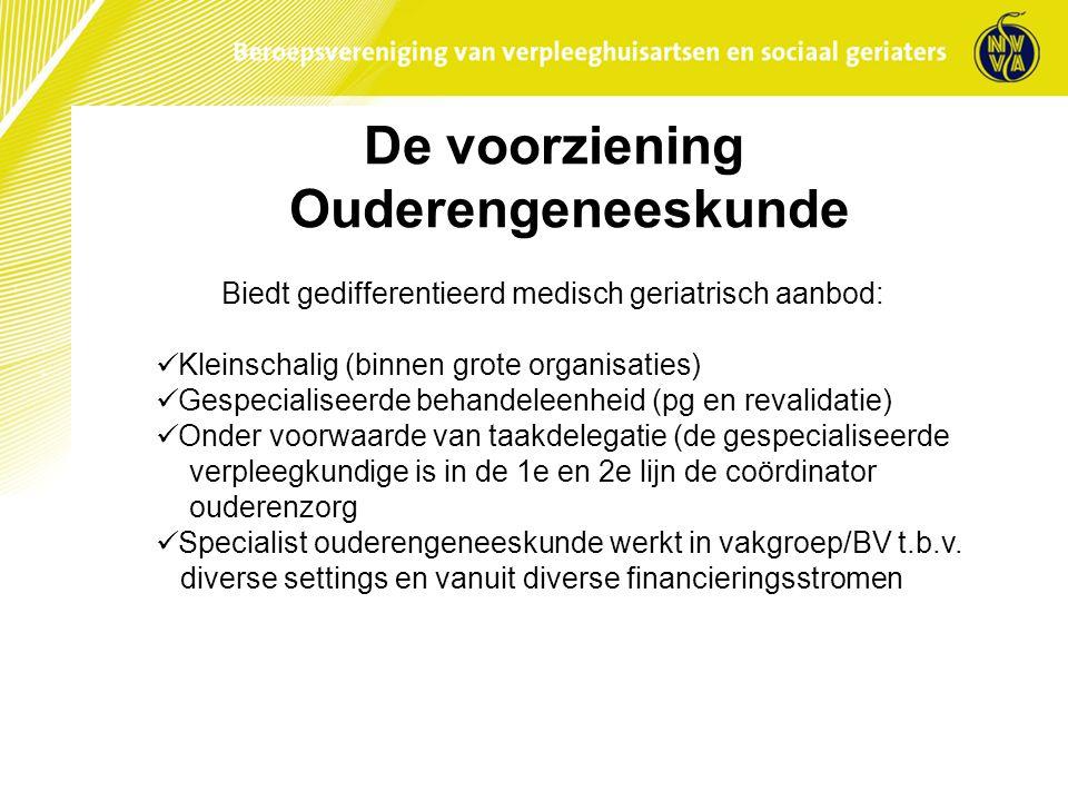 De voorziening Ouderengeneeskunde Biedt gedifferentieerd medisch geriatrisch aanbod: Kleinschalig (binnen grote organisaties) Gespecialiseerde behande
