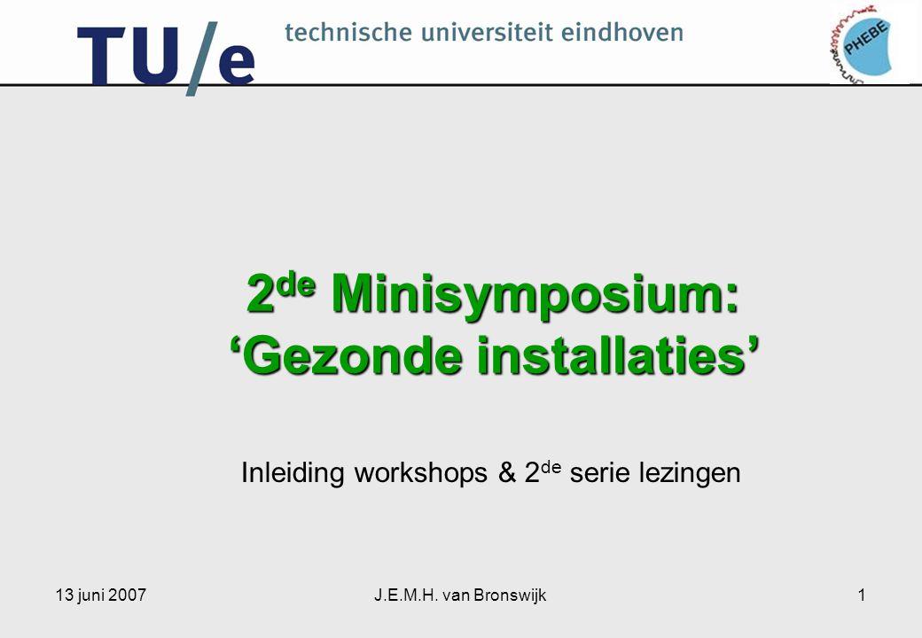 13 juni 2007J.E.M.H. van Bronswijk1 2 de Minisymposium: 'Gezonde installaties' Inleiding workshops & 2 de serie lezingen