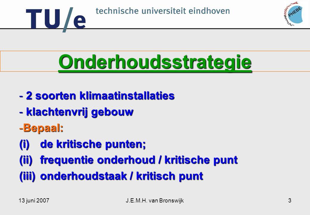 13 juni 2007J.E.M.H. van Bronswijk3 Onderhoudsstrategie - 2 soorten klimaatinstallaties - klachtenvrij gebouw -Bepaal: (i)de kritische punten; (ii)fre
