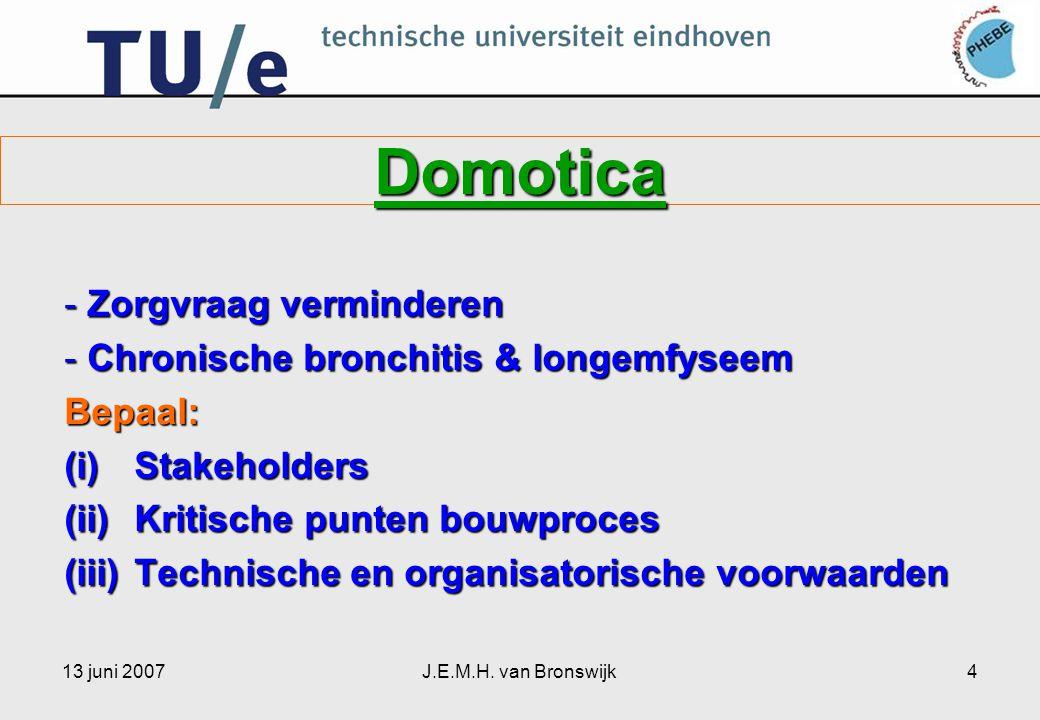 13 juni 2007J.E.M.H. van Bronswijk4 Domotica - Zorgvraag verminderen - Chronische bronchitis & longemfyseem Bepaal: (i)Stakeholders (ii)Kritische punt