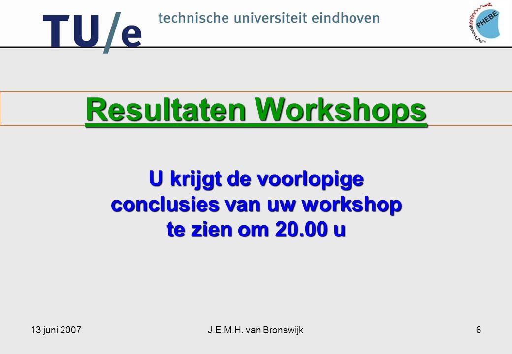 13 juni 2007J.E.M.H. van Bronswijk6 Resultaten Workshops U krijgt de voorlopige conclusies van uw workshop te zien om 20.00 u